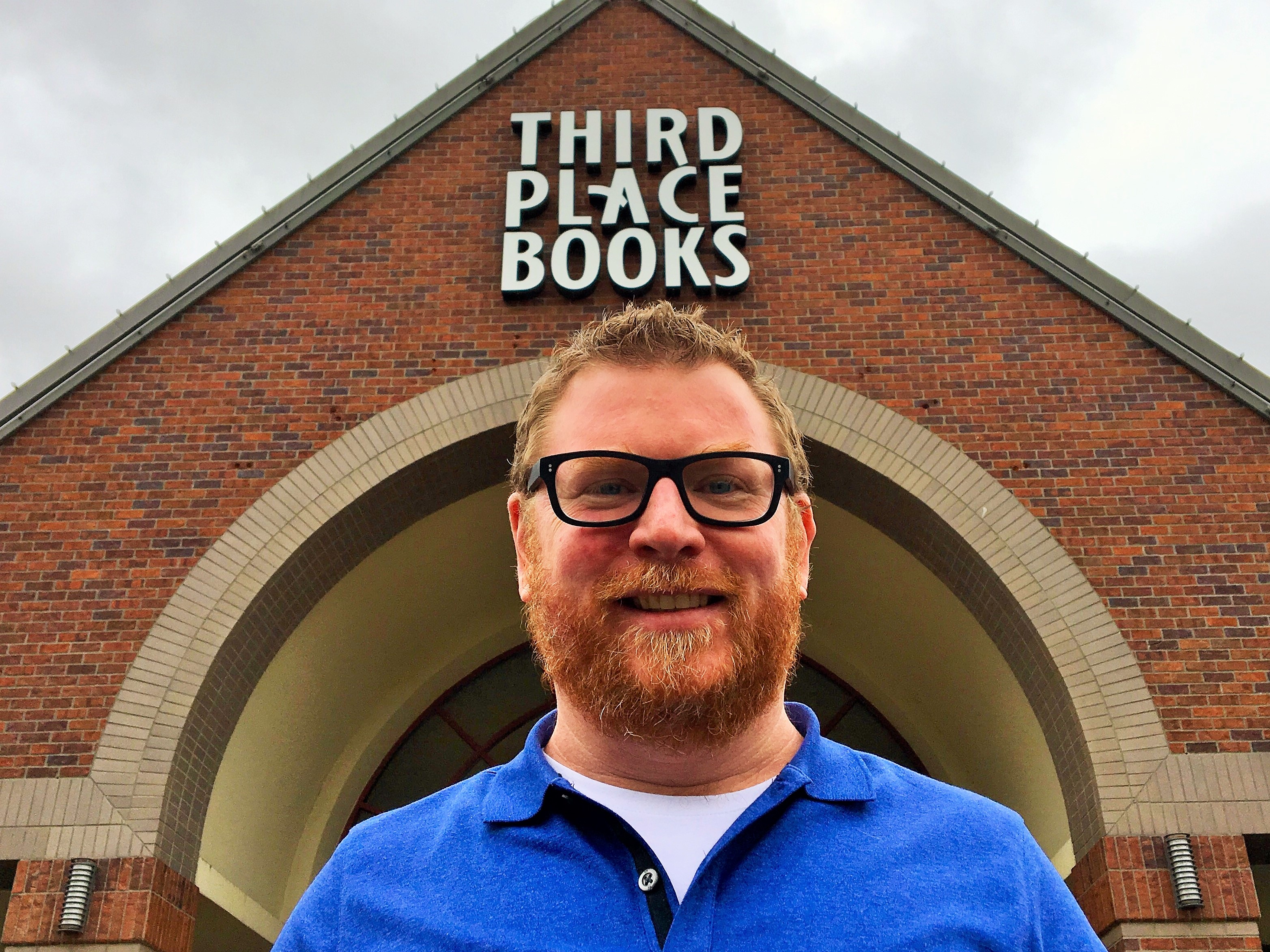 Robert Sindelar outside of Third Place Books Lake Forest Park Location
