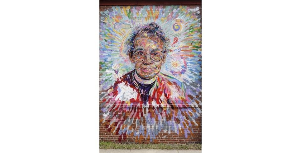 The Pauli Murray in the World mural was created as a part of the Face Up Project led by artist Brett Cook. in Durham, NC.