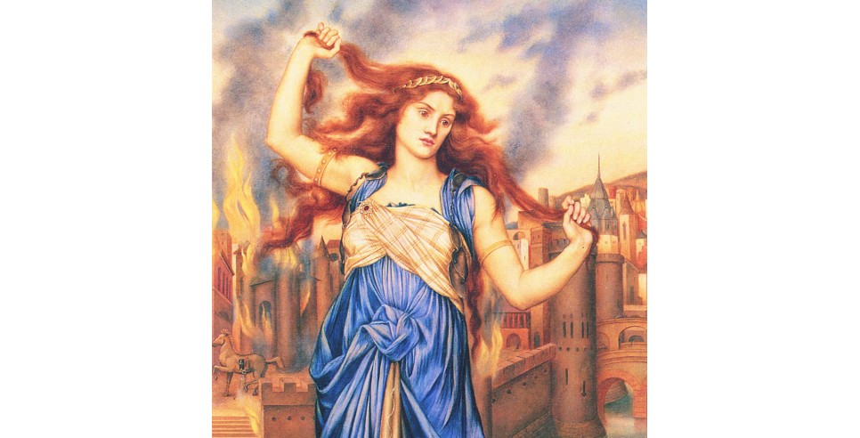 Casandra, going mad, as Troy burns behind her. Painting by Evelyn De Morgan (1855-1919)