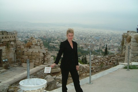 Patricia Vaccarino overlooking Athens Oct 2003